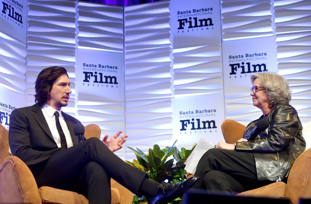 SANTA BARBARA, CALIFORNIA - JANUARY 17: Adam Driver and Anne Thompson speak onstage at the Outstanding Performers Of The Year Award Honoring Scarlett Johansson and Adam Driver Presented by Belvedere Vodka during the 35th Santa Barbara International Film Festival at Arlington Theatreon January 17, 2020 in Santa Barbara, California. (Photo by Matt Winkelmeyer/Getty Images for SBIFF)