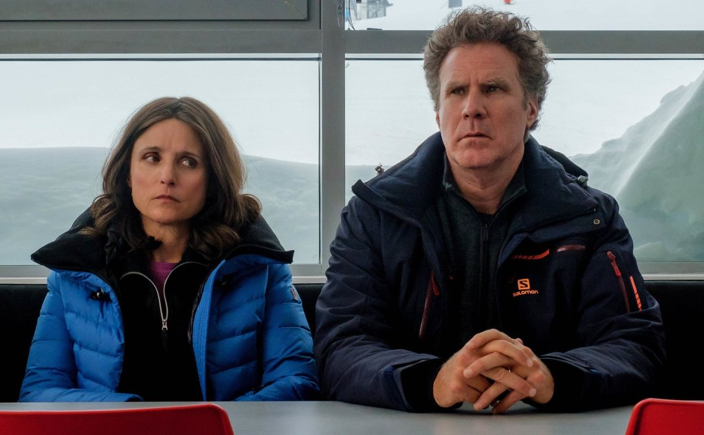 Julia Louis-Dreyfus and Will Ferrel appear in Downhill by Jim Rash and Nat Faxon, an official selection of the Premieres program at the 2020 Sundance Film Festival. Courtesy of Sundance Institute.\n\nAll photos are copyrighted and may be used by press only for the purpose of news or editorial coverage of Sundance Institute programs. Photos must be accompanied by a credit to the photographer and/or 'Courtesy of Sundance Institute.' Unauthorized use, alteration, reproduction or sale of logos and/or photos is strictly prohibited.