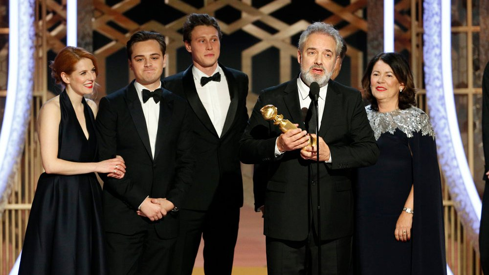 77th ANNUAL GOLDEN GLOBE AWARDS -- Pictured: Sam Mendes accepts the award for Best Motion Picture, Drama at the 77th Annual Golden Globe Awards held at the Beverly Hilton Hotel on January 5, 2020 -- (Photo by: Paul Drinkwater/NBC)