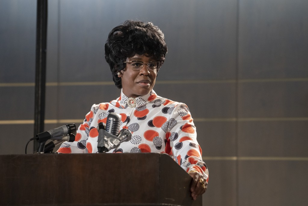 "MRS. AMERICA -- ""Shirley"" --Episode 3 (Airs April 15) Pictured (l-r): Uzo Aduba as Shirley Chisholm. CR: Sabrina Lantos/FX"
