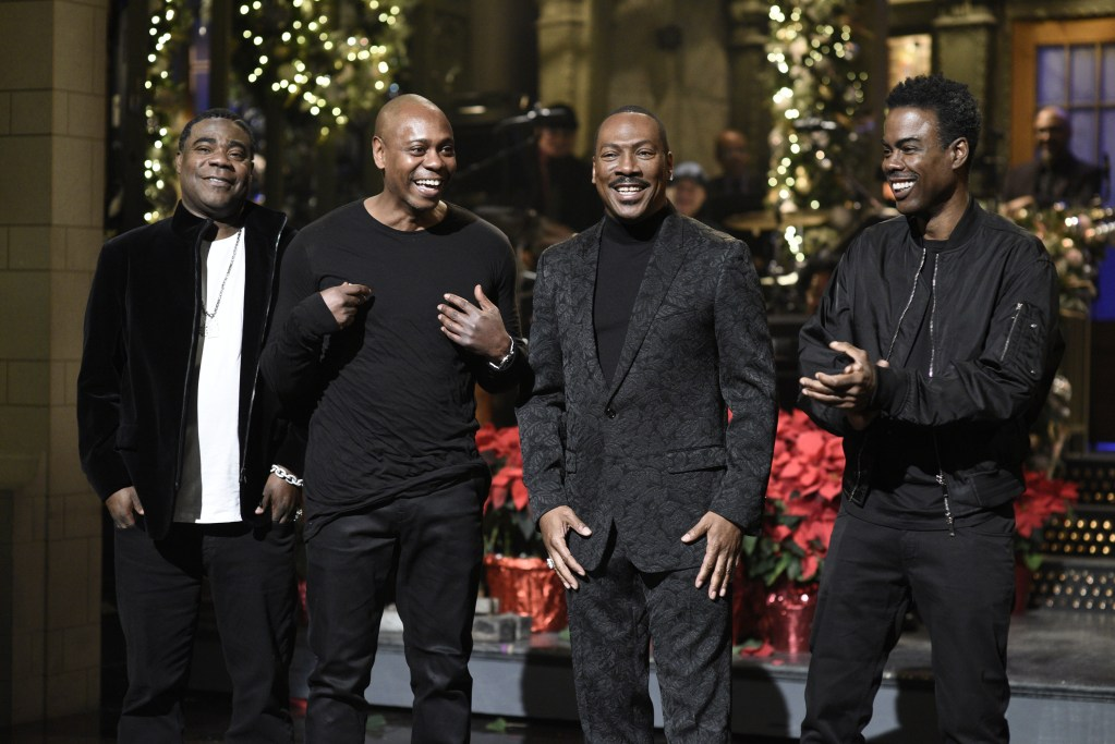 "SATURDAY NIGHT LIVE -- ""Eddie Murphy"" Episode 1777 -- Pictured: (l-r) Tracy Morgan, Dave Chappelle, host Eddie Murphy, and Chris Rock during the Monologue on Saturday, December 21, 2019 -- (Photo by: Will Heath/NBC)"