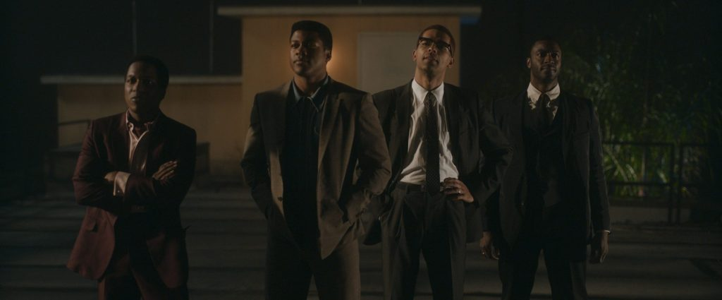 Leslie Odom, Jr., Eli Goree, Kingsley Ben-Adir and Aldis Hodge in Regina King's ONE NIGHT IN MIAMI (courtesy of Amazon Studios)
