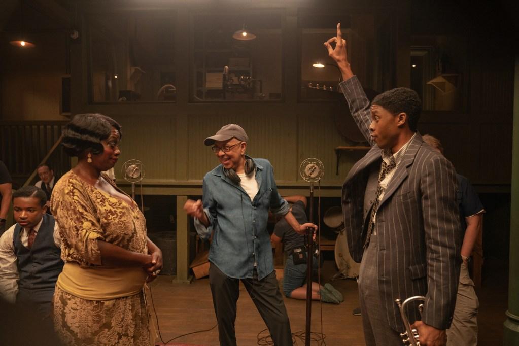 Ma Rainey's Black Bottom (2020): (L to R) Viola Davis as Ma Rainey, Director George C. Wolfe, and Chadwick Boseman as Levee (David Lee / Netflix)