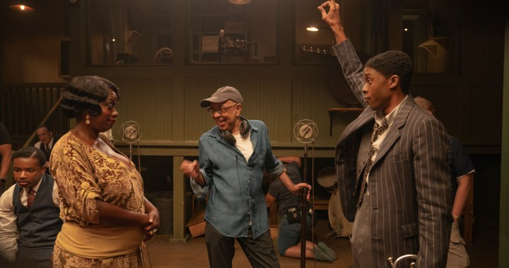 Ma Rainey's Black Bottom (2020): (L to R) Viola Davis as Ma Rainey, Director George C. Wolfe, and Chadwick Boseman as Levee (David Lee / Netflix)