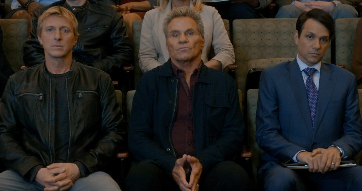 COBRA KAI (L to R) WILLIAM ZABKA as JOHNNY LAWRENCE, MARTIN KOVE as JOHN KREESE, and RALPH MACCHIO as DANIEL LARUSSO of COBRA KAI Cr. COURTESY OF NETFLIX © 2020