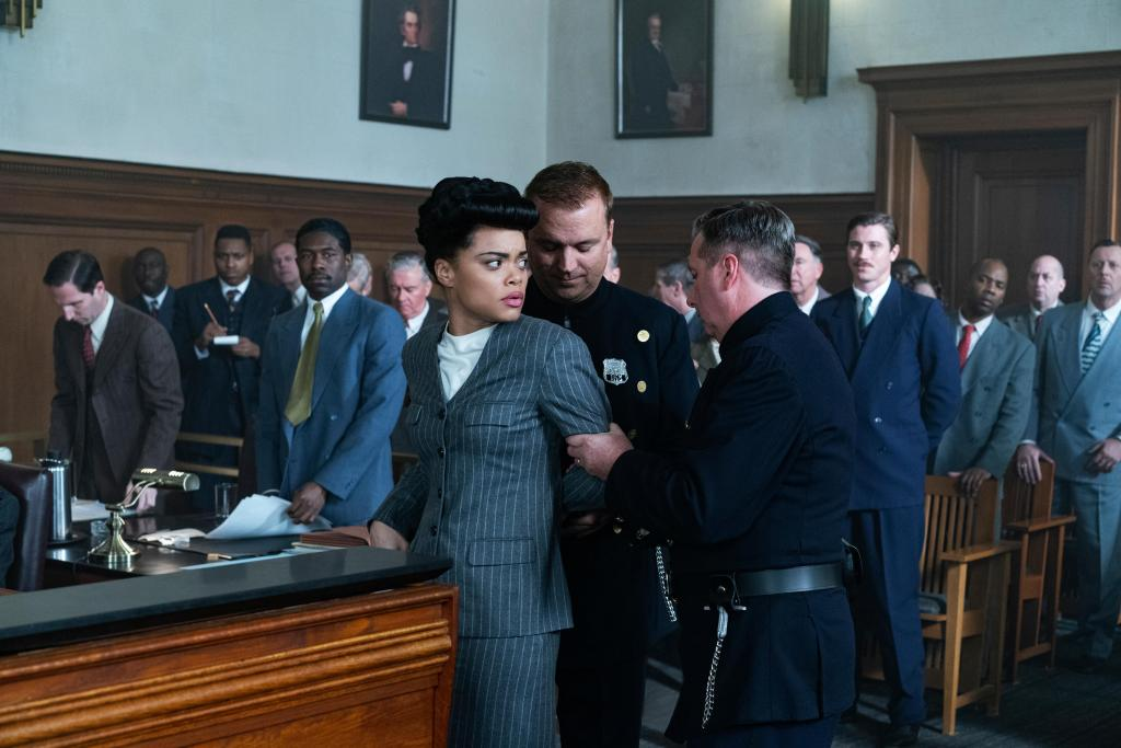 Trevante Rhodes, Andra Day, and Garrett Hedlund in THE UNITED STATES VS. BILLIE HOLIDAY from Paramount Pictures. Photo Credit: Takashi Seida.