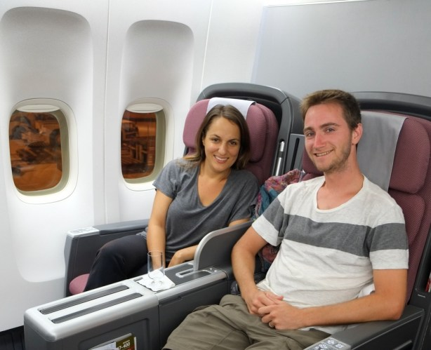 Enjoying business class on our Qantas flight from Singapore to Brisbane.