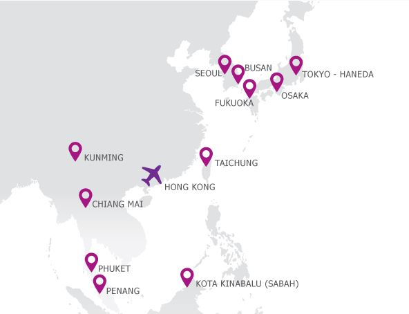 HK Express Destination Map, current as of May 18th, 2014