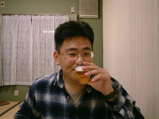 ビール満喫中おかでん