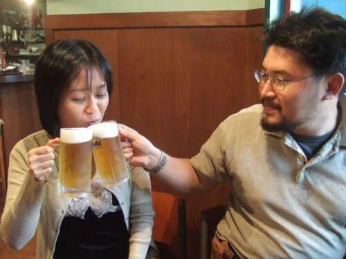 二人で乾杯