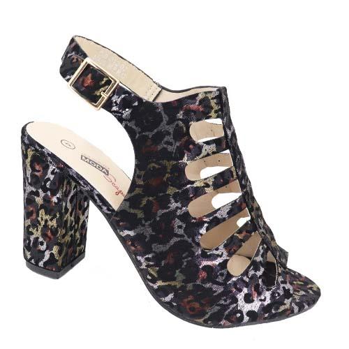 ModaScapa Block heel Peep Toe Bootie Sandal -Black