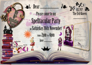 Homemade Ever after high party invitation