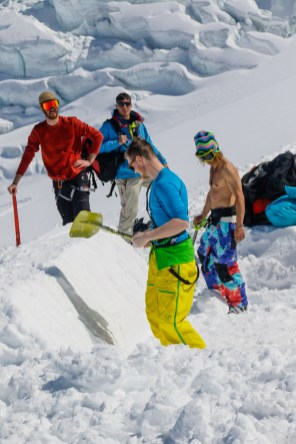 We were shoveling the landing.