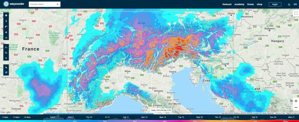 WePowder snow map
