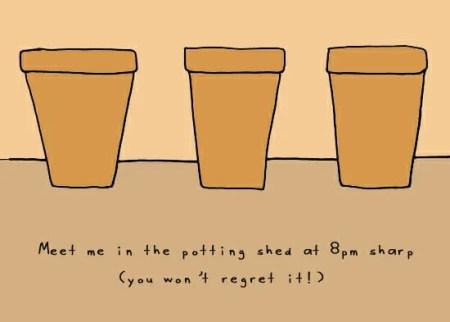 garden cartoon on flower pots