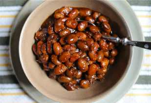 My baked beans combine molasses, mustard and maple in the sauce.