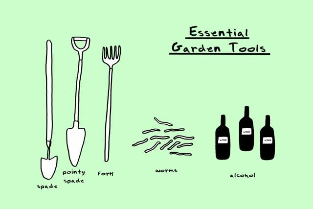 garden cartoon of essential tools