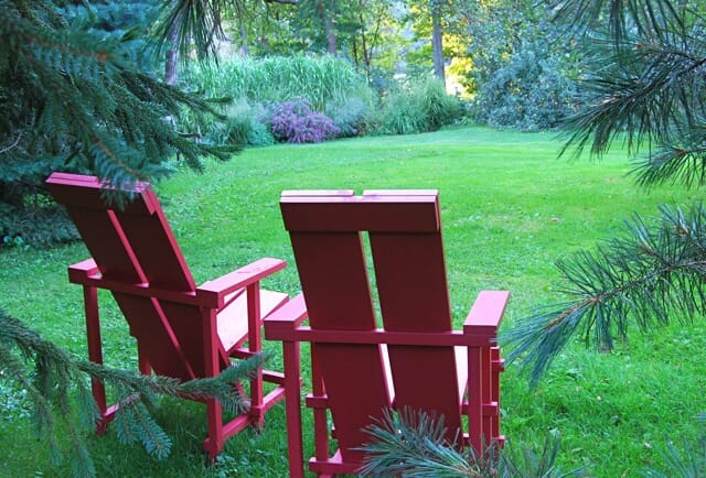 Wave Hill chairs in red paint