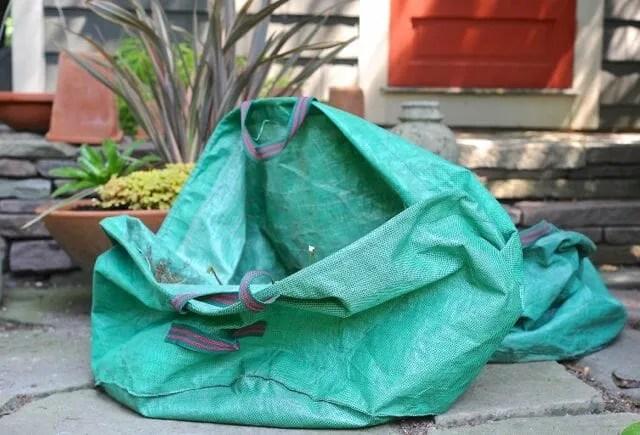 tip bag for garden cleanup