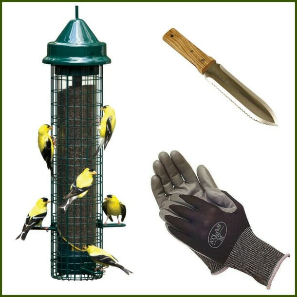 Brome feeder, stainless hori-hori, Atlas gloves