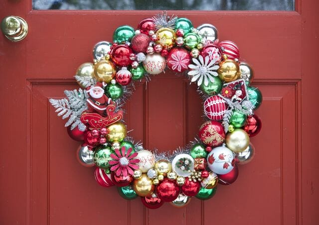 Recycled ornaments wreath by Pam Kueber of Retro Renovation