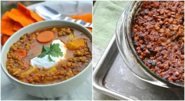 lentil soup and BBQ lentils