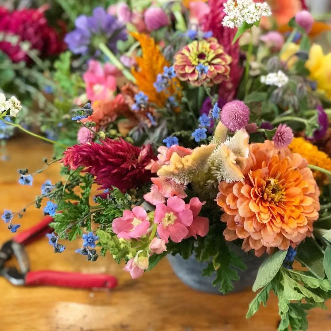 floral arrangement by tiny hearts farm