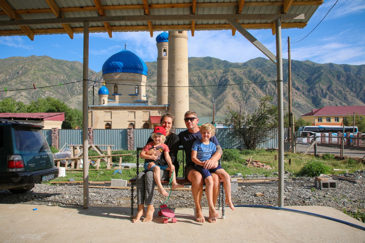 Our guesthouse in Saty after crossing the border into Kazakhstan with the kids.