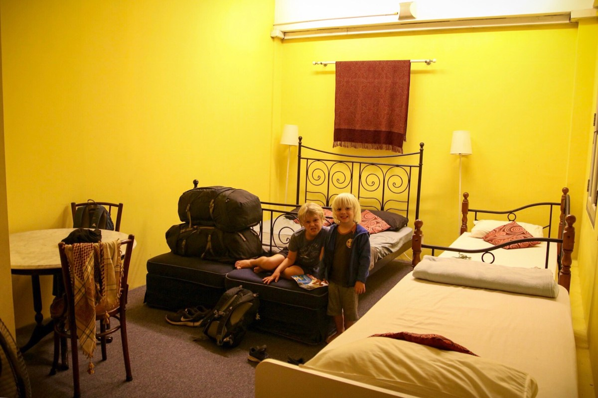 The family room at Betel Box Hostel where we stayed in Singapore with kids.