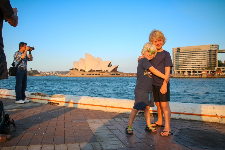 On the waterfront in Sydney with kids.