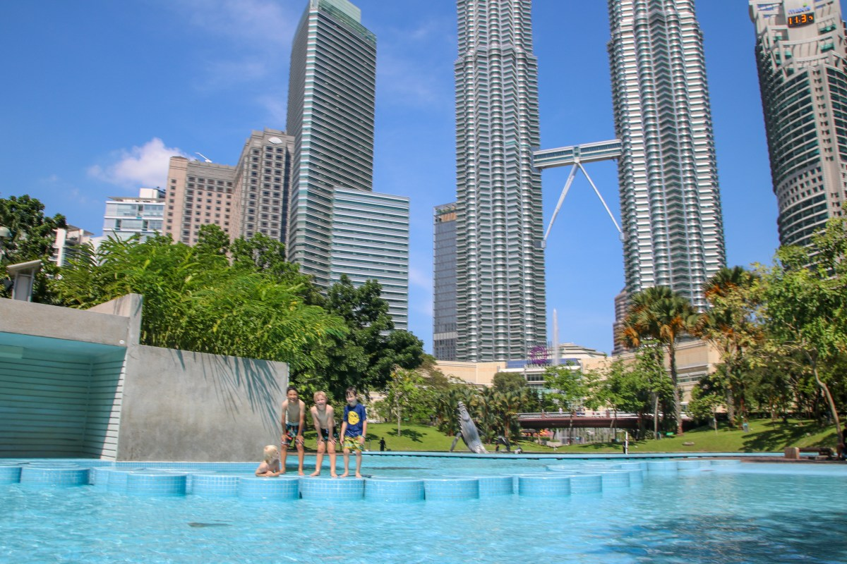 The splash park at KLCC Park was a highlight of Kuala Lumpur with kids!