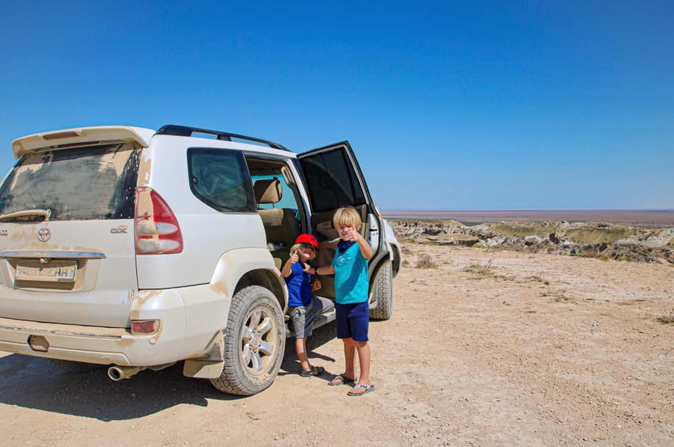 Setting out in our 4x4 vehicle to the Aral Sea, Uzbekistan with kids.