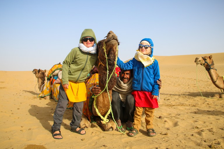 The kids with our guide on camel safari Jaisalmer.