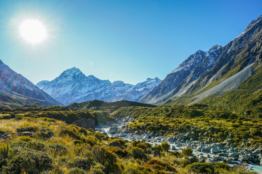 The view of Mount Cook on the walk to Hooker Lake.