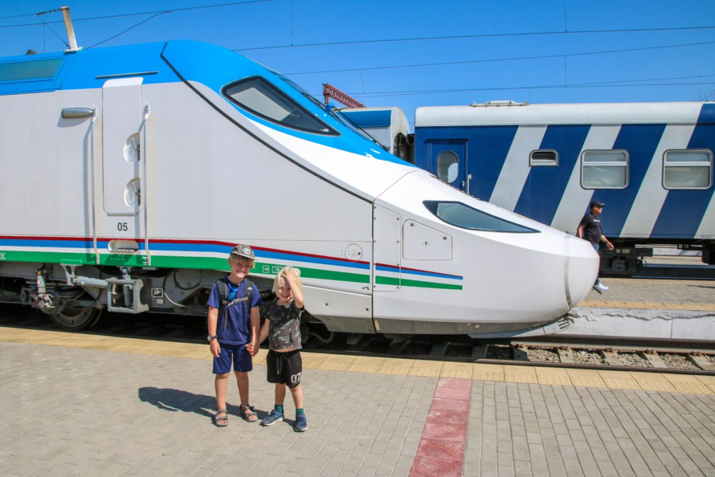 Taking the high speed train in Uzbekistan with kids.