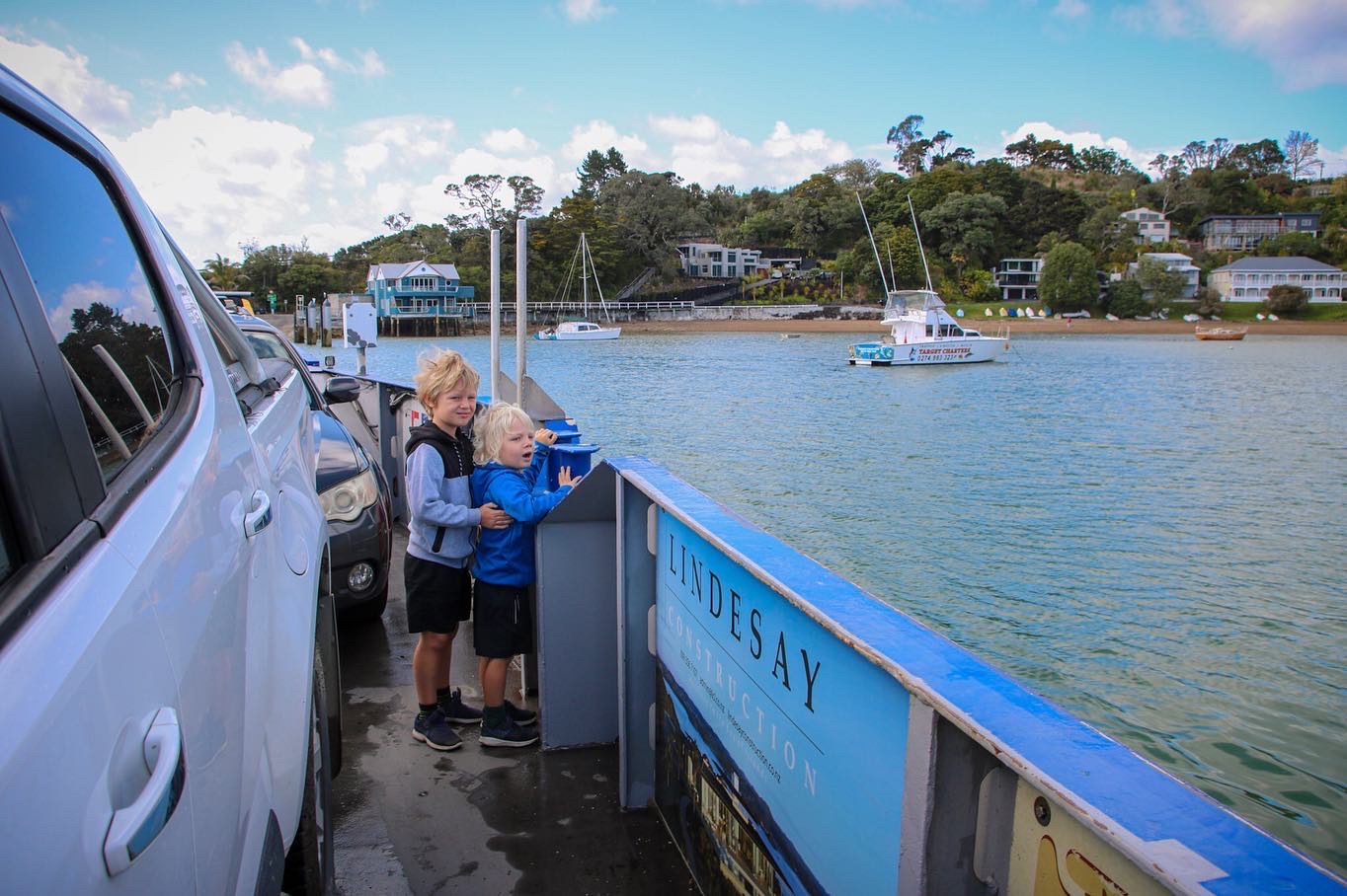 On board the vehicle ferry from Opua to Okiato. A great day out finding things to do in Russell with kids.