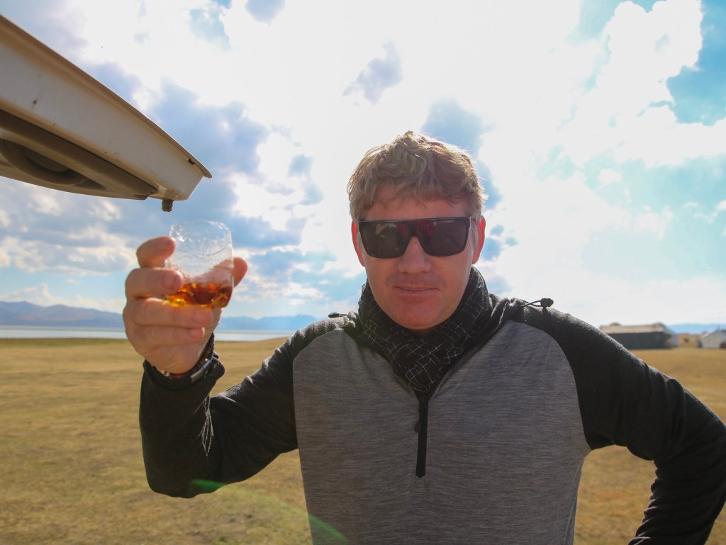 Trying Kyrgyz cognac.