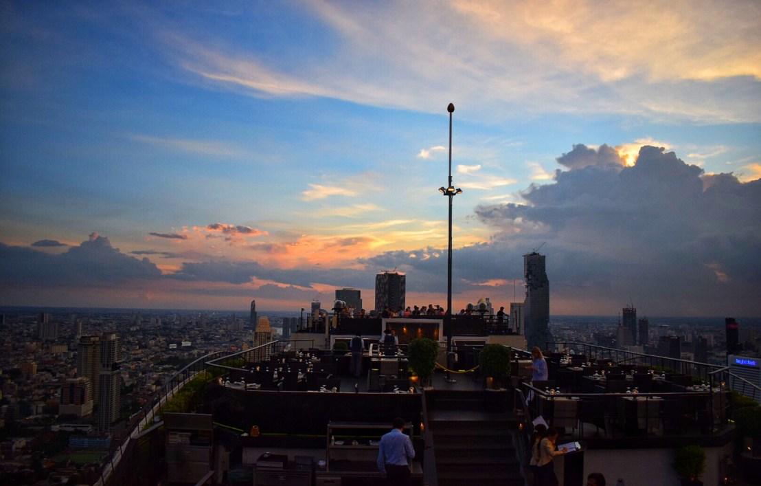 Sunset sky from the rooftop of Vertigo & Moon Bar rooftop at Banyan Tree Hotel Bangkok