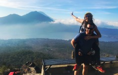Mount Batur sunrise from the top of the Bali volcano