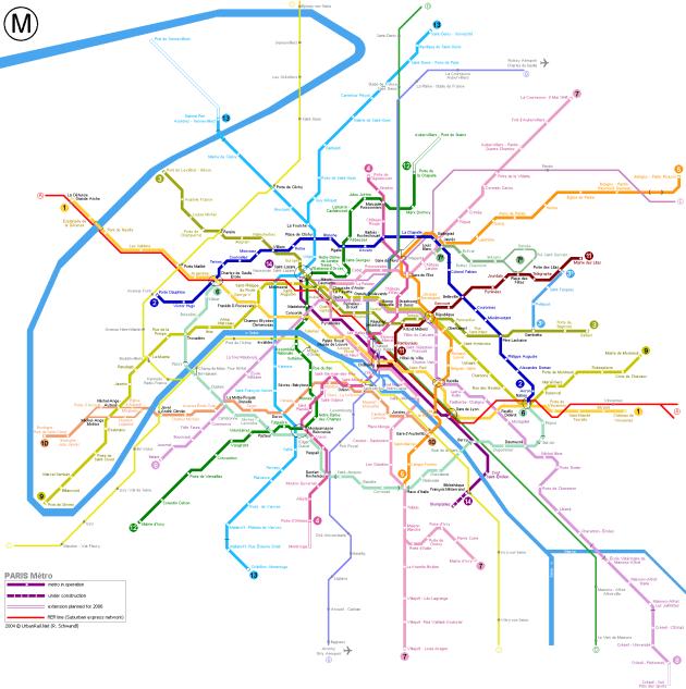 схема парижского метро
