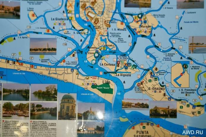 Карта Венецианской лагуны