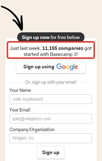 Форма регистрации Basecamp