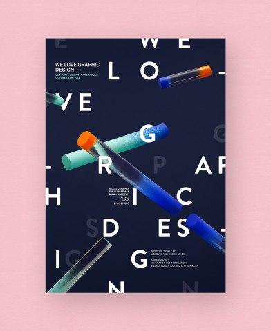 «Мы любим графический дизайн» — фирменный стиль однодневного семинара в Копенгагене, прошедшего в прошлом году.