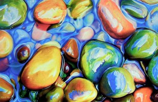 Мокрые камни цветными карандашами