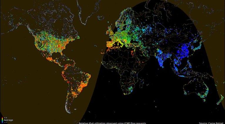 Анимированная карта суточной интернет-активности