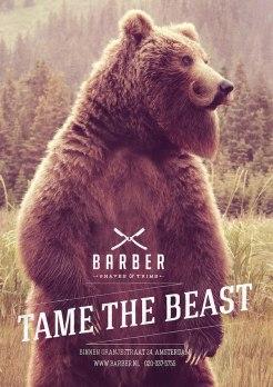 Реклама салона бритья в Амстердаме под слоганом «Укроти зверя».