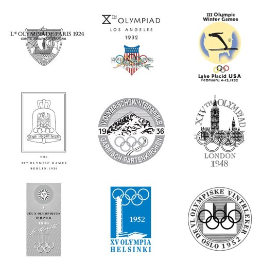 43 логотипа Олимпийских игр с 1924 по 2020 год