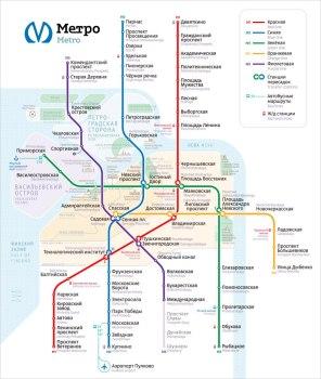 Новая схема линий Петербургского метрополитена