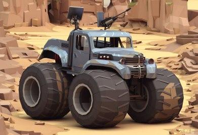 Машины из «Безумного Макса» в стилистике Low Poly