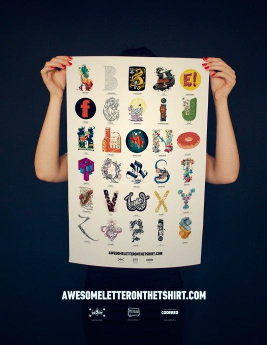 Крутой проект Basotta и Pictolab — Awesome Letter On The T-Shirt. Суть проекта отлично передает текст с сайта: